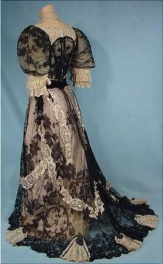 c. 1905 Black and Ecru Lace 2-Piece Gown with Light Blue Silk Trim and Sequins!