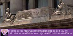 Informó el Banco de México, que el saldo de las reservas internacionales es de 192 mil 298 millones de dólares.