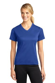 Sport-Tek  Dri-Mesh  Ladies V-Neck T-Shirt. L468V   3.5-ounce, 100% polyester double knit mesh Taped neck Crossover self-fabric v-neck Tag-free label Princess seams for flattering fit Set-in sleeves Side vents