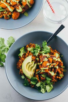 These Lentil Curry Bowls have roasted carrots, sliced avocado, and a creamy cilantro cashew sauce. Powerhouse comfort food!