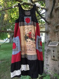Items similar to RESERVED ! Upcycled Cowgirl Chic Dress , Patchwork Rodeo Western Tank Dress , by SimplyCathrineAnn on Etsy Cowgirl Chic, Rodeo Cowgirl, Country Style Dresses, Diy Fashion, Fashion Outfits, Black Tank Dress, Altered Couture, Shirt Refashion, Patchwork Dress