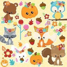 80% OFF SALE Fall animals clipart commercial by Prettygrafikdesign