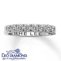 A wedding band with a row of Leo Diamonds is the perfect way to show off your forever love.