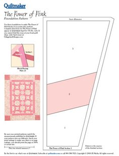 The Power of Pink- Breast Cancer awareness pink ribbon paper piece quilt pattern- free
