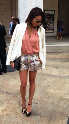 We love TV Host and Style Celebrity @Jeannie Choi Mai! Her statement shorts paired with a soft ivory jacket make a flirty and sophisticated look! #NYFW