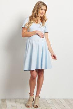 Light Blue V Neck Flare Dress