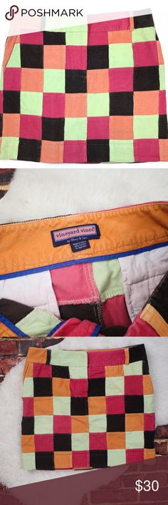 """Vineyard Vines Patchwork Colorful Skirt Brand:  Vineyard Vines Size: 12 Material: 99% cotton, 1% spandex Measurements: Waist """" 36"""", Length """"18 """"  **Feel free to message me asking any questions.  * All items are measured laying flat then doubled  * Comes from a smoke-free home  * ALL items are in great condition, NWOT, or NWT. Vineyard Vines Skirts Mini"""