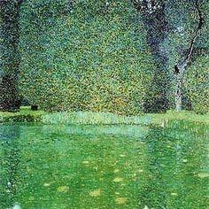 "Gustav Klimt -Vienna Secession & Art Nouveau - ""Pond at Schloss Kammer on the Attersee"", 1909 Gustav Klimt, Art Klimt, Art Nouveau, Landscape Art, Landscape Paintings, Nature Paintings, Vienna Secession, Oil Painting Reproductions, Oeuvre D'art"