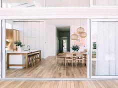 Open plan, timber flooring, large sliding doors to seamlessly access indoors/deck Open Plan Kitchen Living Room, Open Plan Living, Clean Living, Retro Beach House, Kyal And Kara, Palace, Long Room, Inspiration Design, Hamptons House