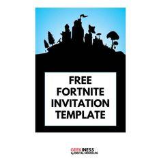 Free Fortnite Invitation for Print or Sending Digitally Free Party Invitation Templates, Free Printable Birthday Invitations, Halloween Invitations, Digital Invitations, Party Invitations, 9th Birthday Parties, 11th Birthday, Birthday Ideas, Birthday Stuff