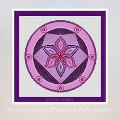 X-stitch pattern mandala Spotlight purple - digital crosstitch embroidery pattern pdf - 197 x 197 crossstitches - 36 x 36 cm  14 x 14 inches