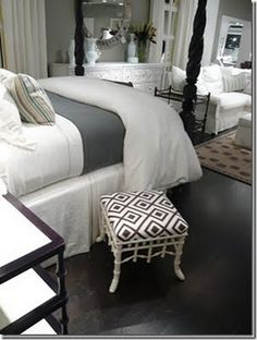 gray bedroom, mix of black and white funiture