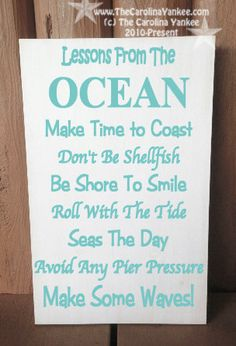 Lessons from The Ocean Home Decor Wood Board by TheCarolinaYankee, $28.00