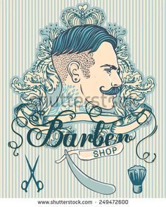 Retro Barber Shop Vintage Template. Vector illustration with man's profile.