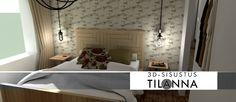 3D - sisustussuunnittelu / rustiikkinen makuuhuone, rustic bedroom/ 3D-sisustus Tilanna