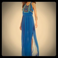 Miss Me Embroidered Maxi Nwt, gorgeous, embroidered with multi colors and yellow beads blue maxi, slit going up left leg to knee. Miss Me Dresses Maxi