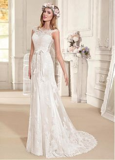Buy discount Fashionable Tulle & Satin Bateau Neckline A-line Wedding Dresses With Lace Appliques at Dressilyme.com