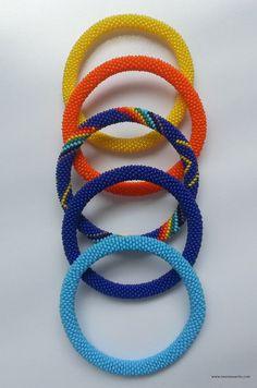 Beaded Crochet Bracelet 5 pieces by NazoDesign on Etsy