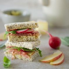 Prosciutto, Apple and Brie Tea Sandwiches with Sage Butter and other tea sandwich recipes