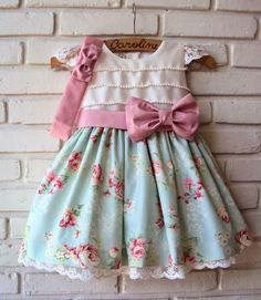 Shabby chic look Toddler Dress, Toddler Outfits, Baby Dress, Toddler Girl, Kids Outfits, Little Dresses, Little Girl Dresses, Pretty Dresses, Girls Dresses