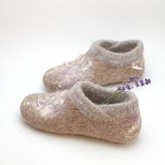 Felt wool slipper booties with knitted top and hint of lavender - organic wool felt clogs eco-friendly house shoes