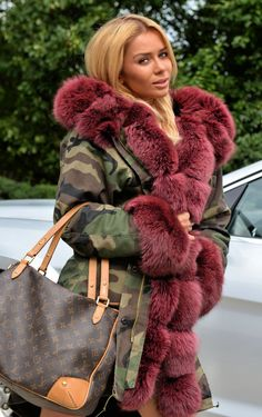 Military Camouflage Parka Coat Saga Fox Fur - Multi-Trade