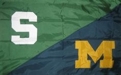 You have to pick one side in this state. Even if you went to another university, you are either a Michigan fan or a State fan. House Divided Flags, Colleges In Michigan, Good Luck Today, Coney Dog, The Mitten State, Michigan State Spartans, March Madness, Football Fans, Great Lakes