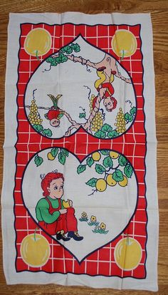 An Apple a Day Vintage 1950s Kitchen Towel by in2vintagecloths, $32.99