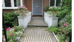 Lay tiles over existing cement path to really give the front a face lift!