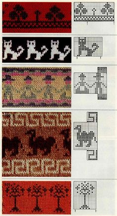 KUFER with artistic handicraft: 1000 jacquard knitting patterns Knitting Charts, Knitting Stitches, Knitting Designs, Knitting Projects, Baby Knitting, Motif Fair Isle, Fair Isle Chart, Fair Isle Pattern, Stitch Patterns
