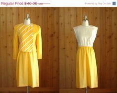 vintage yellow dress and jacket set