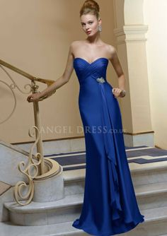 Sweetheart A line Elastic Silk Like Satin Sleeveless Floor Length Bridesmaid