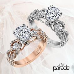 Would you choose rose or white gold for this Parade Diamond Engagement Ring? Old Jewelry, Jewelery, Fine Jewelry, Bling Wedding, Wedding Rings, Wedding Shit, Wedding Stuff, Heart Promise Rings, Dream Engagement Rings