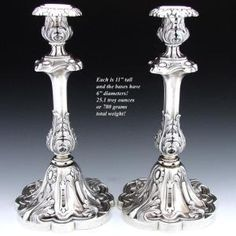 """Large & Heavy Antique French Sterling Silver 11"""" Candlestick Pair by cecilia"""