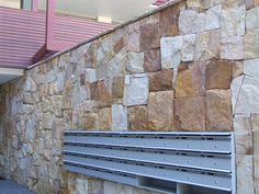 Sandstone wall claddings and capping stone made from Australian local sandstone. Stone Cladding, Wall Cladding, Natural Stone Wall, Natural Stones, Sandstone Wall, Stone Supplier, Stone Work, Home Builders, Interior And Exterior