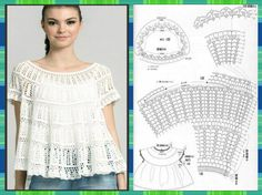 Photo from album Crochet Tunic, Crochet Clothes, Hand Crochet, Knit Crochet, Knitting Patterns, Crochet Patterns, Crochet Girls, Crochet Diagram, Crochet Designs