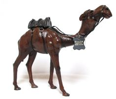 Large Dark Brown Camel Leather Wrapped Saddle Glass Eyes Figurine Made in India