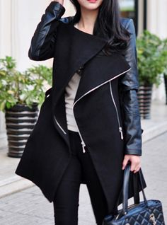 Stylish Stand-Up Collar Zippered Spliced Women's #Coat