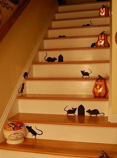 Stair Silhouettes- love the jack-o-lanterns and mouse getting into the candy!