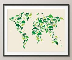 Dinosaur map of the world map art print 583 room bedrooms and dinosaur map of the world map art print 935 gumiabroncs Images