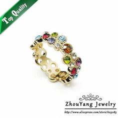 ZYR028 Sweet Summer Flower 18K Gold Plated Ring Made with Genuine SWA ELEMENTS Crystals From Austria 4 Multi Sizes Wholesale-in Rings from Jewelry on Aliexpress.com