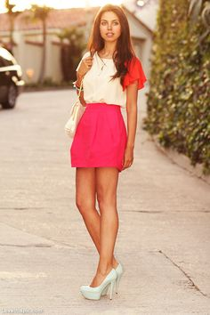 Pink and Blue fashion blue pink heels skirt