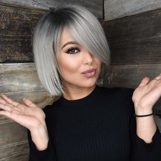 40 gorgeous gray hair styles ideas this year 26 Grey Bob Hairstyles, Cute Hairstyles For Medium Hair, Medium Hair Styles, Curly Hair Styles, Bob Haircuts, Hairstyles 2018, Braid Hairstyles, Stylish Hairstyles, Hairstyle Short