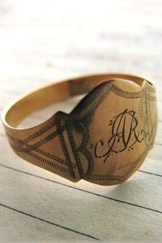 "16 Alternative Wedding Rings For Guys!  #refinery29  http://www.refinery29.com/alternative-wedding-rings-for-guys#slide10  Erica Weiner ""AR"" Georgian Men's Wedding Band, $450, available at Erica Weiner."