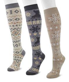 Look at this #zulilyfind! Blue & Cream Ice Knee-High Socks Set #zulilyfinds