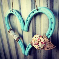 Ocean Breeze Blue Rustic Horseshoe Heart by DownInTheBoondocks, $35.00