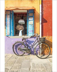 Greetings Card-Colorful house facade in Burano island with old bike, Burano, Venice, Veneto, Italy-Photo Greetings Card made in the USA Venice Image, Old Bikes, Facade House, Northern Italy, Travel Images, Photographic Prints, House Colors, Poster Size Prints, Photo Wall Art