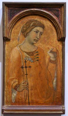 A Female Saint, Possibly St. Margaret or Saint Agatha  -- Circa 1320-29  --  Pietro Lorenzetti  --  Italian  -- Musee de Tesse -- Le Mans, France