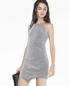 629f201448d Express Metallic Asymmetrical Hem Sheath Dress