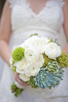 modern white, green and yellow wedding bouquet with succulents | floral design: Munster Rose |  photo: Tiffany Bolk